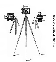 Professional camera tripods, end XIX century