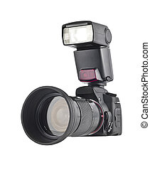 Professional camera with telephoto lens and flash