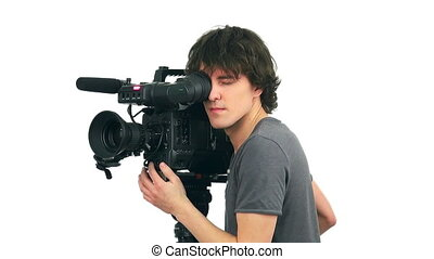 Professional cameraman, isolated on white background