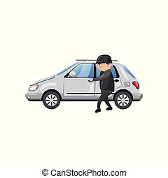 Professional car thief character stealing and breaking car door, auto insurance concept cartoon vector Illustration