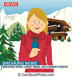 Professional caucasian female reporter with microphone presenting the news in ski resort in the winter