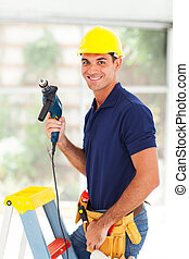 professional cctv system installer with tools