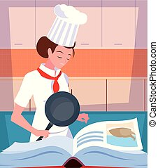professional chef female cooking with recipe book