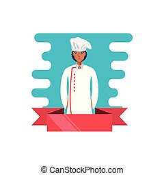professional chef female with ribbon