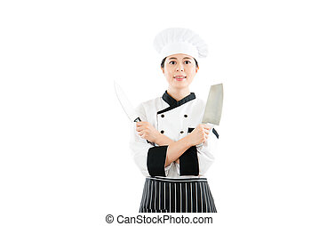professional chef showing two sharp knives