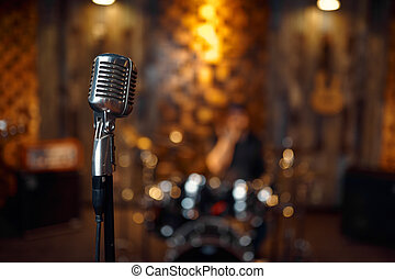 Professional chrome-plated microphone, retro style