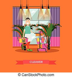 Professional cleaner vector illustration in flat style