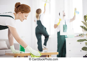 Professional cleaner woman wiping table