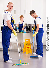 Professional cleaners in the kitchen
