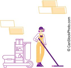Professional Cleaning Company Service Concept. Female Character Sweeping and Mopping Floor with Mop in Public Place. Woman Washing Room. Janitor Professional Occupation. Linear Vector Illustration