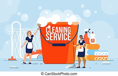Professional Cleaning Service Workers Flat Vector