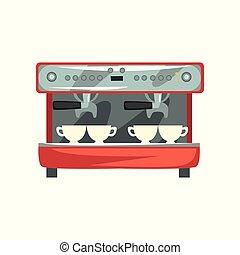 Professional coffee machine cartoon vector Illustration on a...