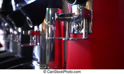 Professional coffee machine, close up