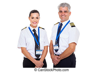 professional commercial airline captain and first officer portrait on white background