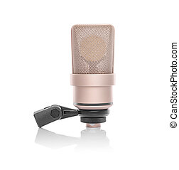 Professional condenser microphoneisolated on white. - ...
