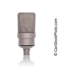 Professional condenser microphoneisolated on a white background.