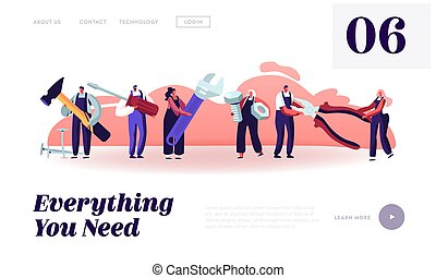 Professional Construction Workers with Tools Website Landing Page. Tiny Characters in Uniform Holding Huge Equipment for Home Repair and Renovation Web Page Banner. Cartoon Flat Vector Illustration