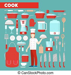 Professional Cook Vector Icons Set with Kitchen Utensils. Vector Icons
