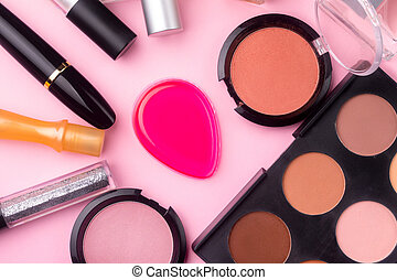 professional cosmetics on pink background. Flat lay, make-up...