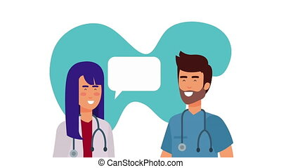 professional couple doctors medical characters animation
