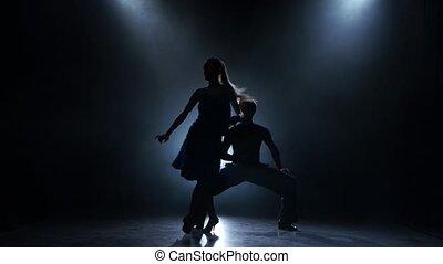 Professional couple of rumba dancers posing in smoky studio, silhouette