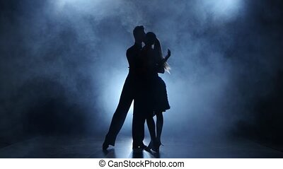Professional couple of tango dancers graceful posing in smoky studio illuminated with white spotlight, man and girl dressed in dance costumes, emotional dancing isolated on black background, two people, silhouette