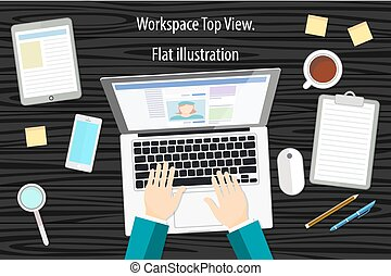 Professional creative graphic designer working at office desk, he is designing a vector illustration using a laptop