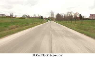 Professional cyclists training in Belgium