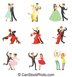 Professional Dancer Couple Dancing Tango, Waltz And Other Dances On Dancing Contest Dancefloor Collection