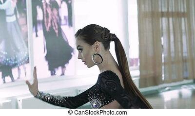 Professional dancers dancing in ballroom. Slow motion