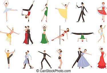 Professional dancers performing different styles of dancing. People in colorful costumes. Young men and women on stage. Flat vecotr design