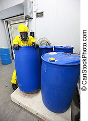 Professional dealing with barrels - Fully protected in...