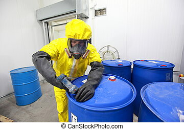 fully protected in yellow uniform, mask, and gloves professional dealing with chemicals