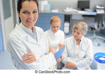Professional dentist woman nurse senior patient