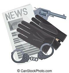 Professional detective accessories for crime investigation cartoon illustration