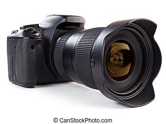 professional digital camera isolated on white background