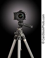professional digital camera on a tripod