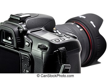 Professional digital camera isolated on white