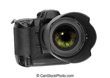 professional digital Lens Reflex with eye inside
