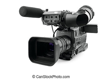 Professional digital video camera, isolated on white...