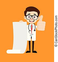 Professional Doctor - Holding a Paper Scroll and Showing Thumbs Up