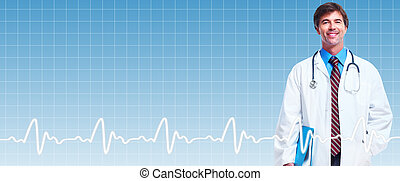 Professional doctor man. - Professional doctor man over blue...