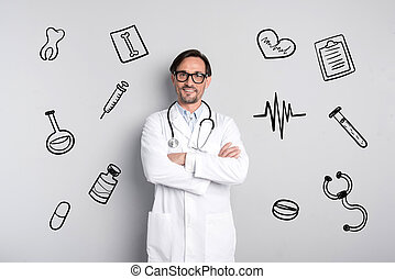 Professional doctor smiling while standing and waiting for patients