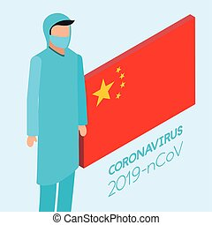 professional doctor using face mask with china flag