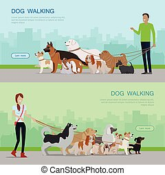 Professional Dog Walking Service Banners Set.