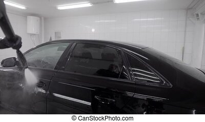 Professional dry cleaning service in a carwash. Man wasing...