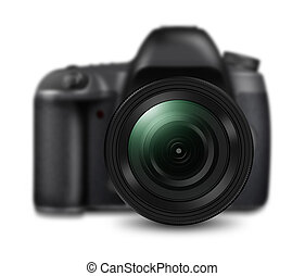 Professional DSLR camera isolated on white background