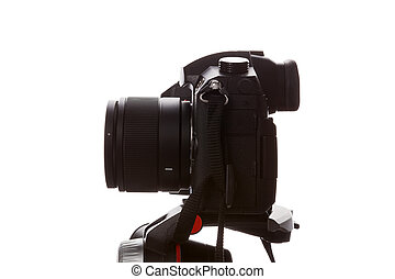 Professional DSLR Camera on Tripod.