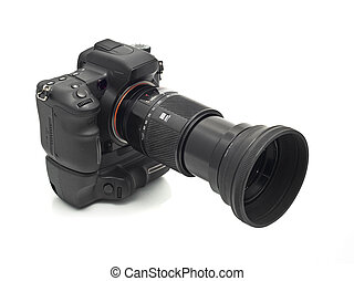 Professional DSLR camera with telephoto lens