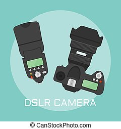 Professional dslr photo camera vector illustration -...